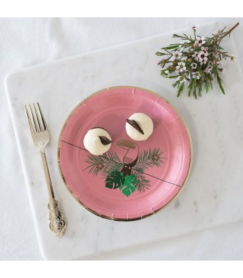 8 PAPER PLATES SMALL TROPICAL PINK - 0,56€/UD