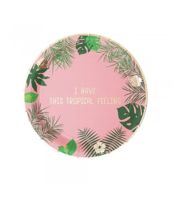 3 PACKS PLATOS GR TROPICAL ROSA - 2,5€/PACK