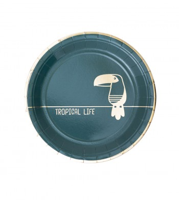 8 PAPER PLATES SMALL TROPICAL GREEN - 0,56€/UD