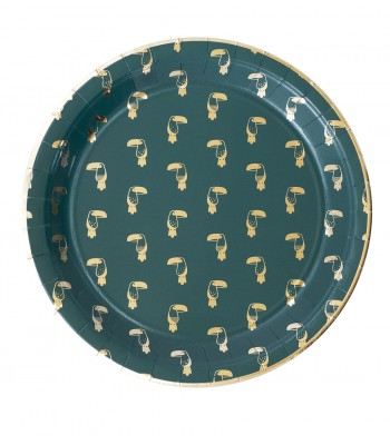 8 PAPER PLATES BIG TROPICAL GREEN - 0,62€/UD