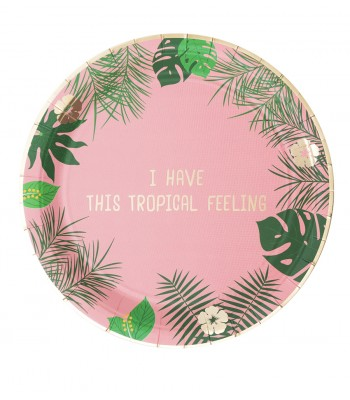 8 PAPER PLATES BIG TROPICAL PINK - 0,62€/UD