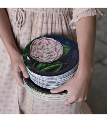 8 PAPER PLATES CLEAR CAMELLIA - 0,56€/UD